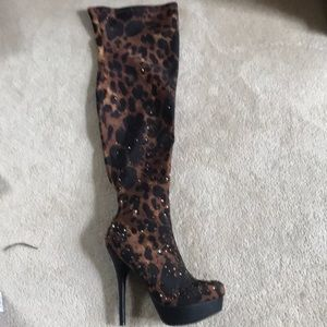 Bakers over the knee animal print boot